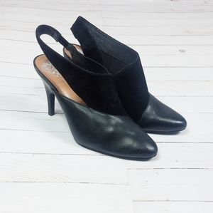 VINCE CAMUTO Leather Slingback Booties | Black